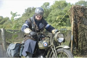 24/09/16 Bottisham Airfield Museum open day 24/09/16 Bottisham Airfield Open Day Andrew Miller as RAF Despatch Rider on a 1940's Norton 500 Picture: Richard Patterson