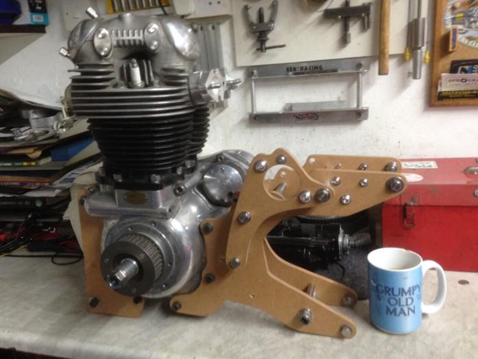 Dommie engine in MDF mock-up cradles
