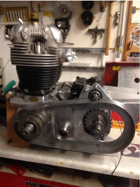 Dommie on bench with machined primary drive and outrigger for Bendix starter